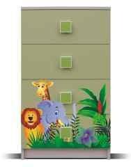 Detská komoda Junior - Komoda, džungľa 9 (breza/zelená)