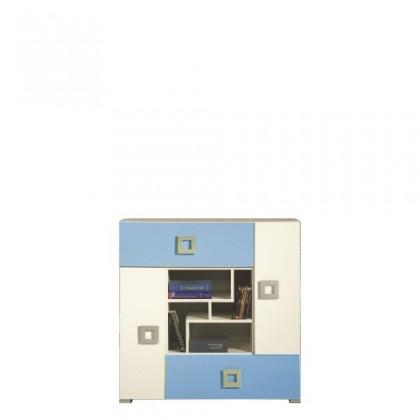 Detská komoda LABYRINT LA 7 (krémová/modrá)
