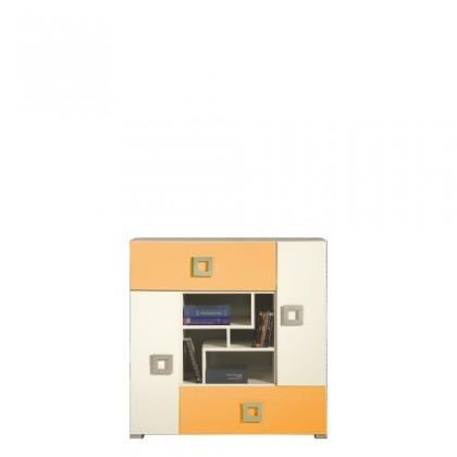 Detská komoda LABYRINT LA 7 (krémová/oranžová)