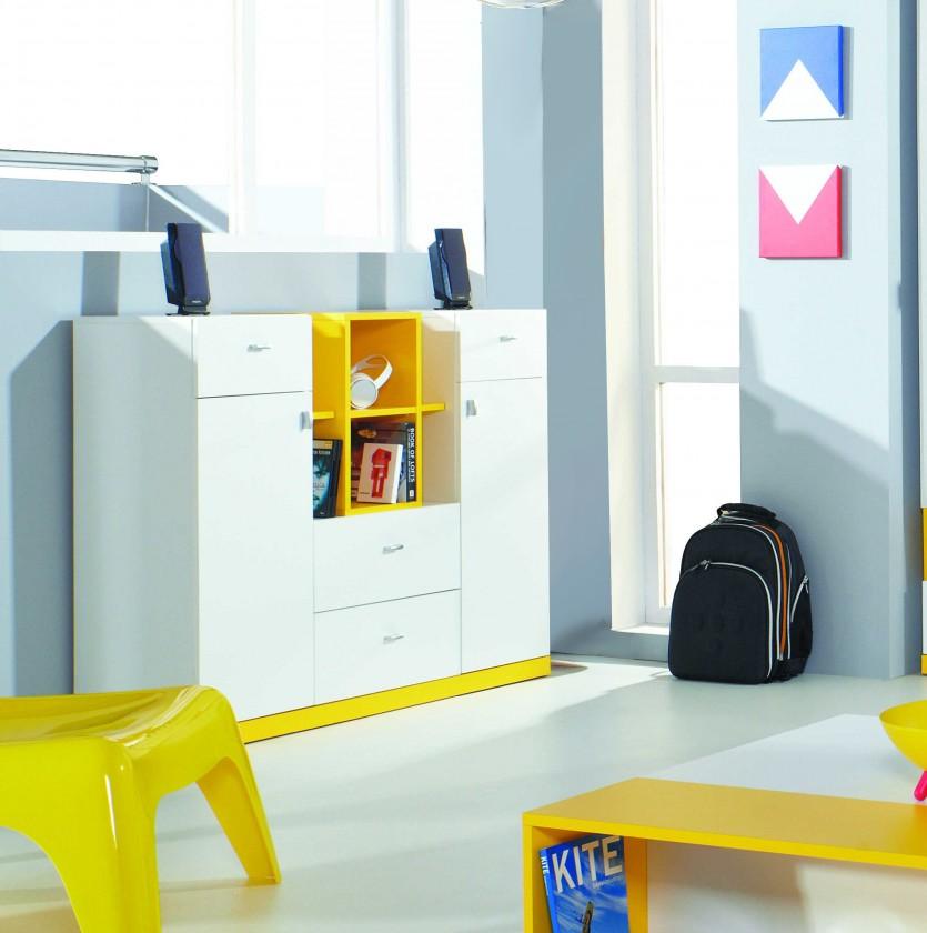 Detská komoda MOBI MO 10 (biela lesk/žltá)