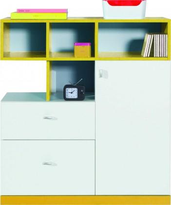 Detská komoda MOBI MO 9 (biela lesk/žltá)