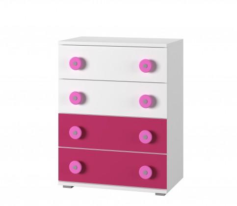 Detská komoda Simba 10(korpus biela/front biela a ružová)