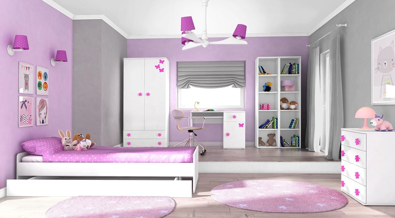 Detská komoda Simba 10(korpus biela/front biela a ružový motýlik)