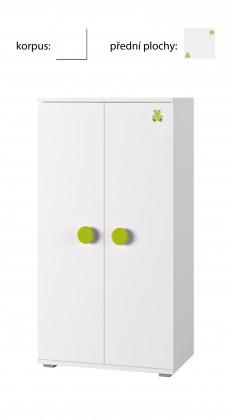 Detská komoda Simba 8(korpus biela/front biela a zelený medvedík)