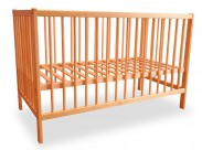 Detská postieľka, drevená, 120x60x80 cm (borovica)