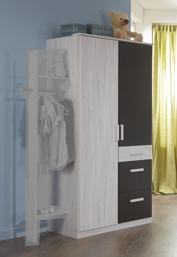 Detská skriňa Cariba - Skriňa 2dverová so zásuvkou (biela dub, čierna láva)