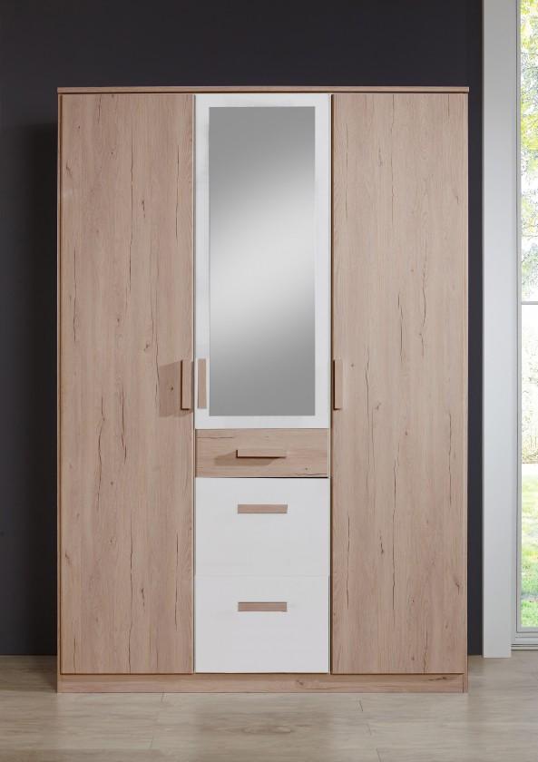 Detská skriňa Cariba - Skriňa 3dverová so zrkadlom (san remo dub, biela)