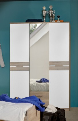Detská skriňa Game - Skriňa, 2 dverová, so zrkadlom a zásuvkami (biela, dub)