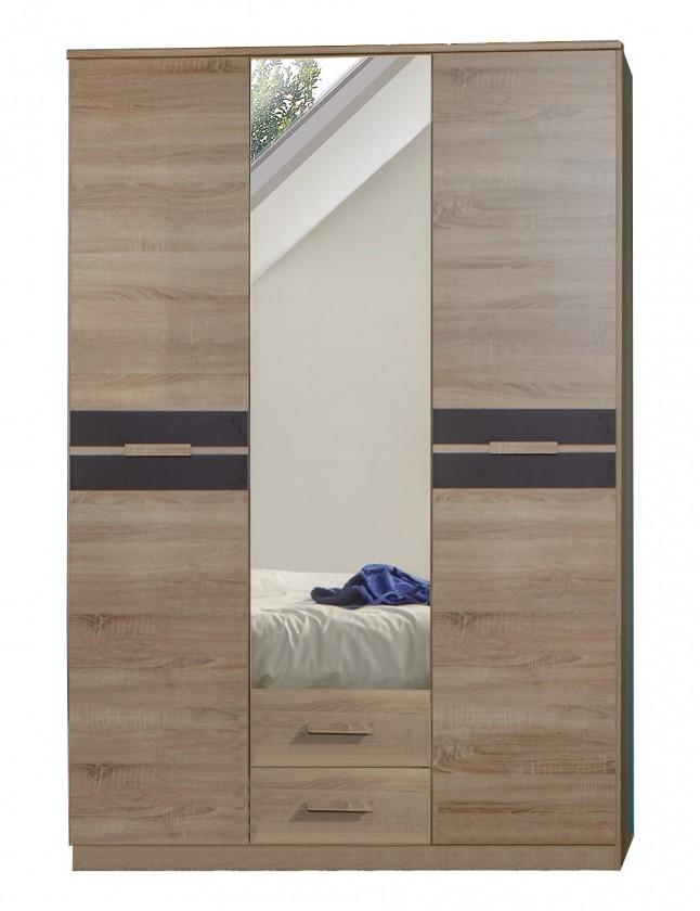 Detská skriňa Game - Skriňa, 2 dverová, so zrkadlom a zásuvkami (dub, čierna)