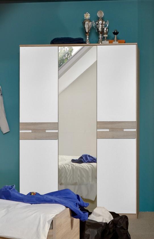 Detská skriňa Game - Skriňa, 2 dverová, so zrkadlom (biela, dub)