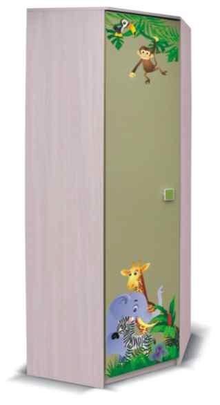 Detská skriňa Junior - Skriňa, džungľa 3 (breza/zelená)