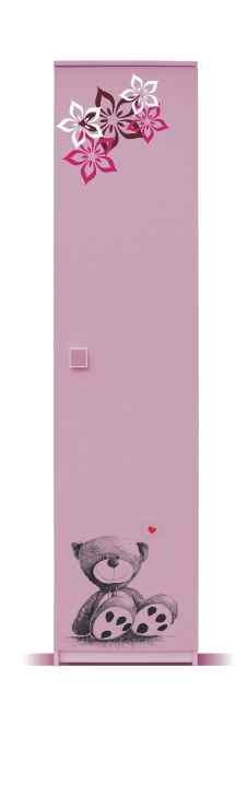 Detská skriňa Junior - Skriňa, medvedík 2 (breza/ružová)