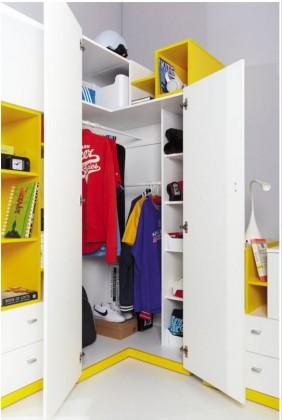 Detská skriňa MOBI MO 1 (biela lesk/žltá)
