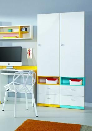 Detská skriňa MOBI MO 3 L/P (biela lesk/žltá)