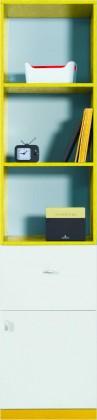 Detská skriňa MOBI MO 5 L/P (biela lesk/žltá)