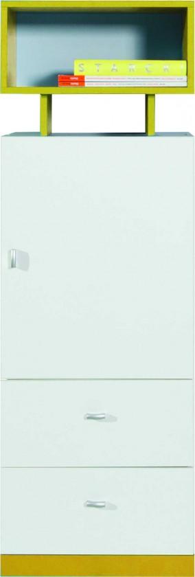 Detská skriňa MOBI MO 8 L/P (biela lesk/žltá)