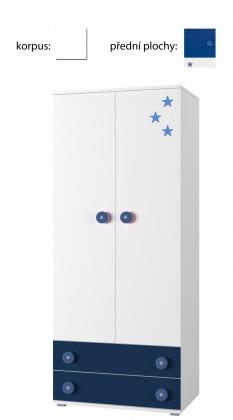 Detská skriňa Simba 1(korpus biela/front biela a modrá)