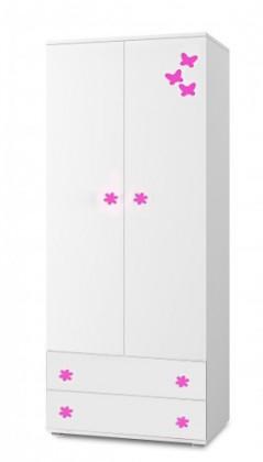 Detská skriňa Simba 1(korpus biela/front biela a ružový motýlik)