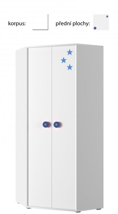 Detská skriňa Simba 6(korpus biela/front biela a modrá)