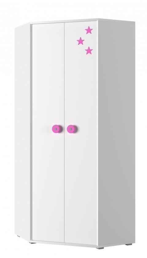 Detská skriňa Simba 6(korpus biela/front biela a ružová)