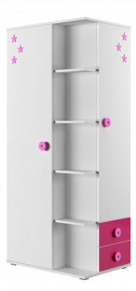 Detská skriňa Simba 7(korpus biela/front biela a ružová)