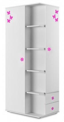 Detská skriňa Simba 7(korpus biela/front biela a ružový motýlik)