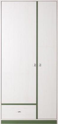 Detská skriňa Stone - Skriňa ST3 (biela, zelená)
