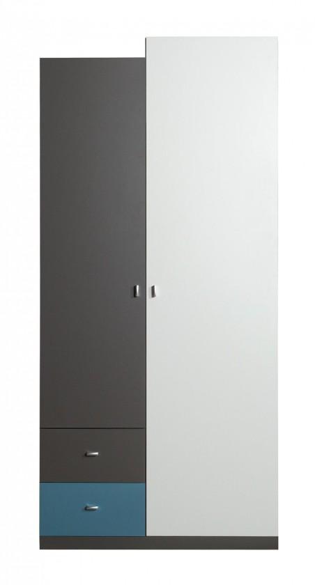 Detská skriňa Tablo-šatníková skriňa,2x dvere (grafit/biela, lesk/atlantic)