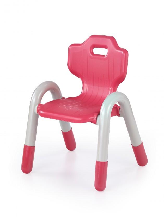 Detská stolička Bambi - Detské plastové kresielko (biela/červená)