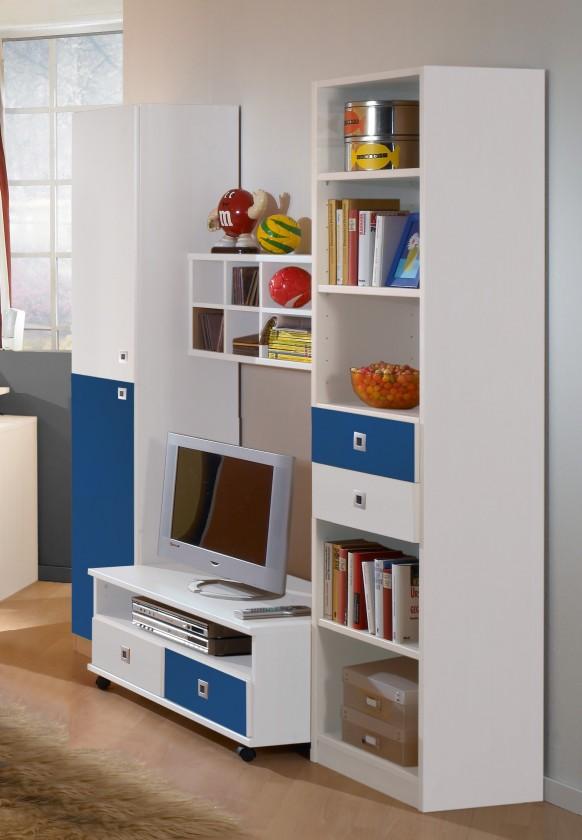 Detská zostava Sunny - Obývacia stena (alpská biela s modrou)