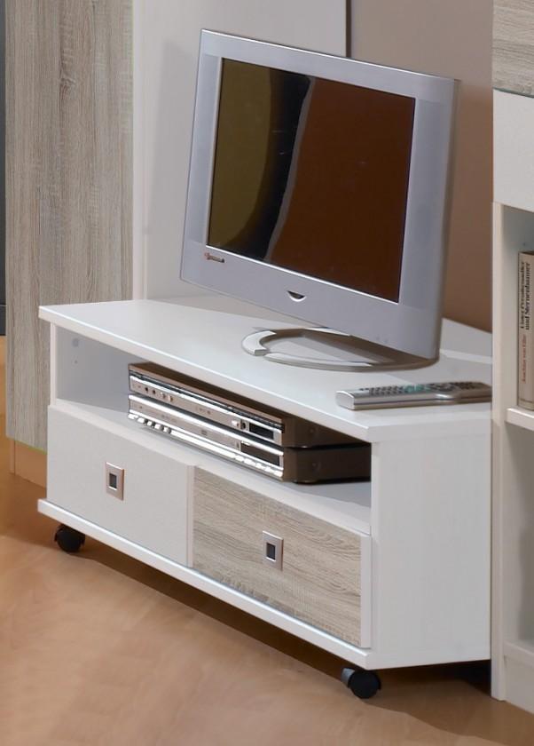 Detské izby ZĽAVNENÉ Sunny - TV stolík (dub, alpská biela)