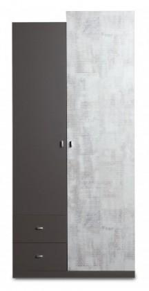 Detské izby ZLACNENÉ Tablo - šatníková skriňa, 2x dvere, 2x zásuvka (grafit/enigma)
