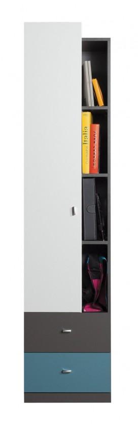 Detské izby ZLACNENÉ Tablo - skriňa,1x dvere,2x zásuvka (grafit/biela, lesk/atlantic)