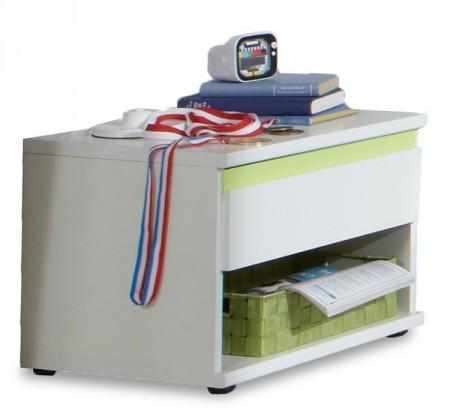 Detský nočný stolík Bibi - Nočný stolík (alpská biela, zelené jablko)