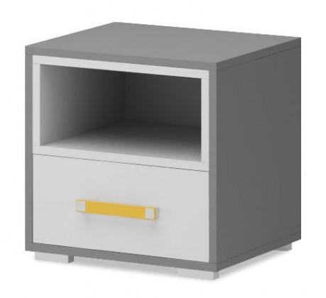 Detský nočný stolík Diego 14 - Nočný stolík (biela/sivé boky/žltý úchyt)