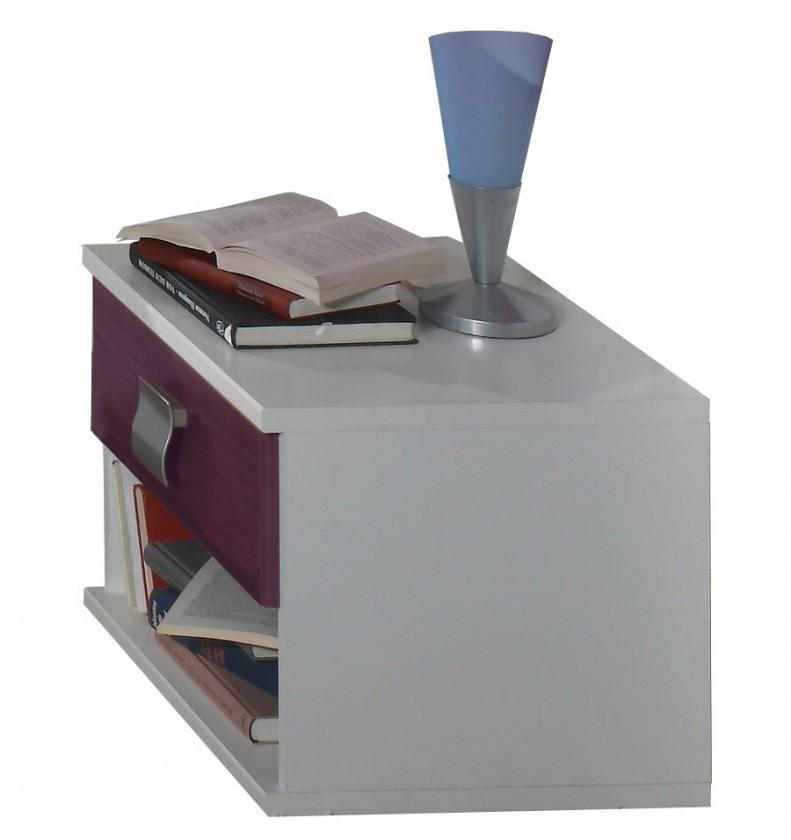 Detský nočný stolík Jette - 366697 (alpská biela / ostružina)