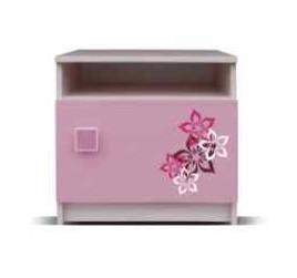 Detský nočný stolík Junior - Nočný stolík, medvedík 17 (breza/ružová)