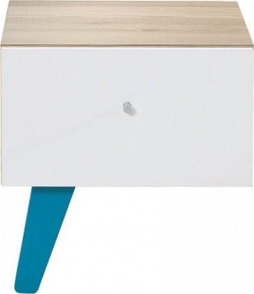 Detský nočný stolík SAJMON SJ 12 L/P (smrekovec/biela lesk/tyrkysová)