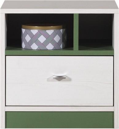 Detský nočný stolík Stone - Noční stolík ST13 (biela, zelená)
