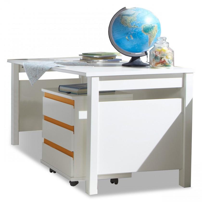 Detský pracovný stôl Bibi - Pracovný stôl, mobilný regál (alpská biela, oranžová)