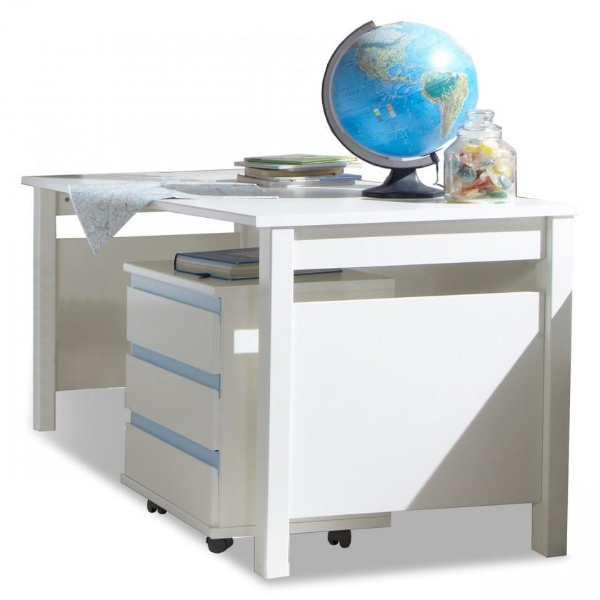 Detský pracovný stôl Bibi - Pracovný stôl, s mobilným regálem (alpská biela, modrá)