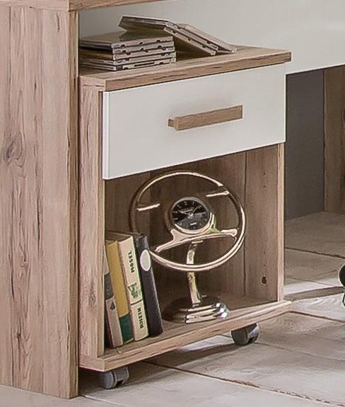 Detský pracovný stôl Cariba - Mobilný stolík (san remo dub, biela)