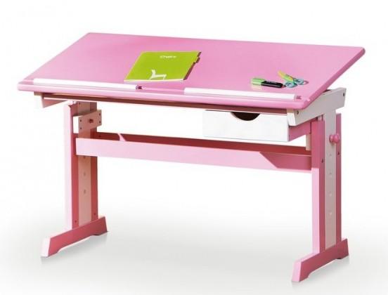 Detský pracovný stôl Cecilia (ružová/biela)