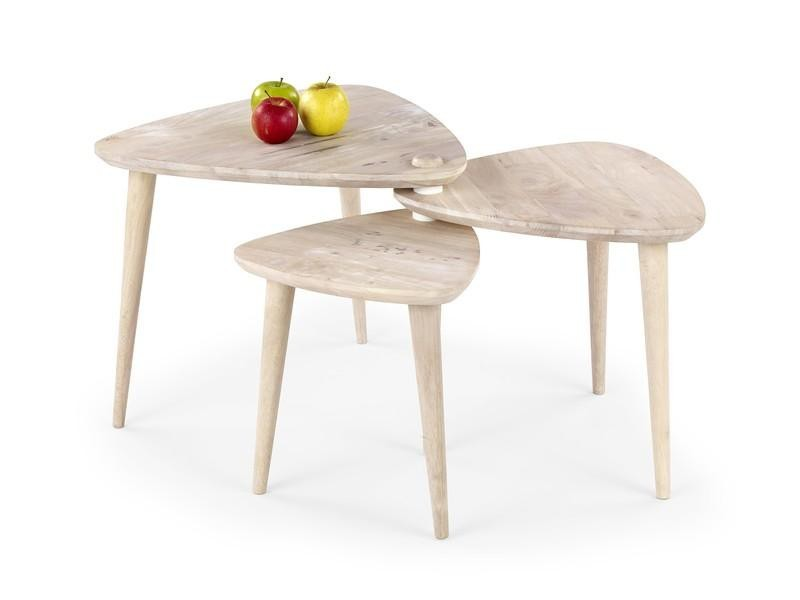 Detský pracovný stôl Corsica - Trojstolík (bielené drevo)
