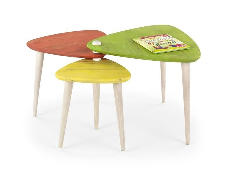 Detský pracovný stôl Corsica - Trojstolík, farebný (žltý, oranžový, zelený)