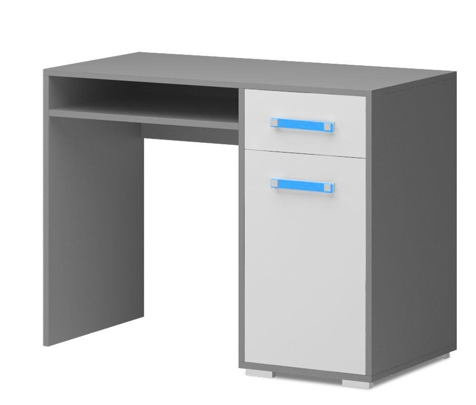 Detský pracovný stôl Diego 10 - Stôl (predná strana biela/sivé boky/modrý úchyt)