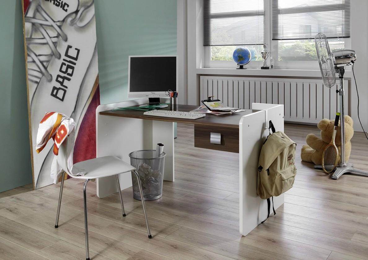 Detský pracovný stôl Jette - Detský pracovný stôl (biela, kolumbijský orech)