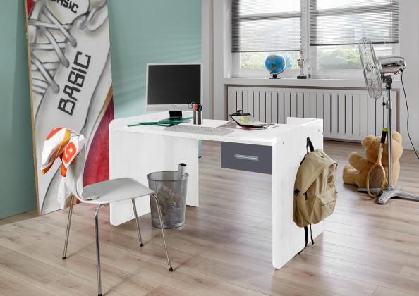 Detský pracovný stôl Joker - Pracovný stôl so zásuvkou (biela, antracit)