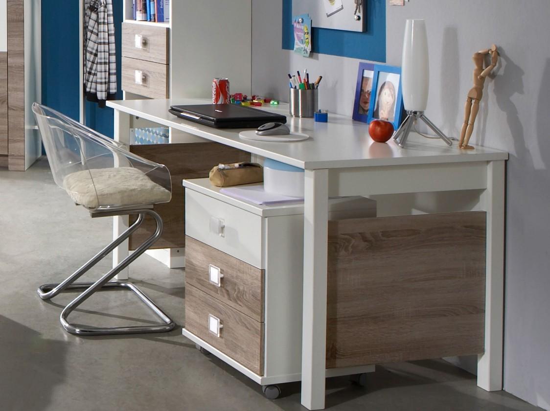 Detský pracovný stôl Kira-324416(alpská biela / dub montana)