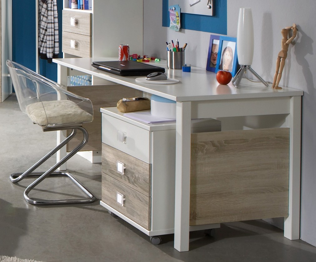 Detský pracovný stôl Kira-325416(alpská biela / dub pílený)